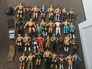 WWE/WWF/WCW ~ Bulk 39x piece lot inc. Chairs, Barrel, Belt. Figures/Figurines.