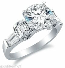 Baguette Engagement Ring Sz 10,11,12,13 + Bonus! 14Kt White Gold 2.5 Ct Round &