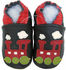 carozoo train black 2-3y C1 soft sole leather toddler shoes slippers