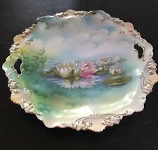"""RS PRUSSIA WATER LILIES LOTUS HANDLED 11"""" SCALLOPED CAKE PLATE RED & GREEN MARK"""