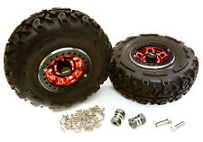 C27037RED 2.2x1.5-in. High Mass Wheel, Tires & 14mm OffSet Hubs for 1/10 Crawler