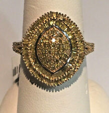 NEW! 2 Ct YELLOW DIAMOND CLUSTER RING, 14K YG & PLATINUM .925 SS, Size 8
