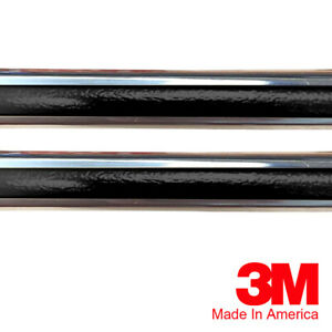 "Vintage Style 7/8"" Black & Chrome Side Body Trim Molding"