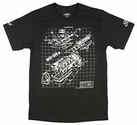 Ford Men's Engine Block Schematic Black T-Shirt New