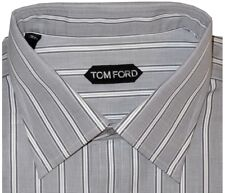 $590 NEW TOM FORD WHITE & GRAY TONE STRIPES FRENCH CUFF DRESS SHIRT EU 44 17.5