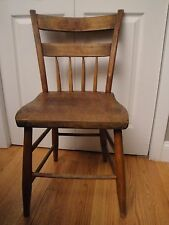 Antique Old Rustic Primitive Wooden Farm Cottage Dining Single Accent Chair