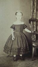 c1870 ANTIQUE VICTORIAN GIRL CDV PHOTO EERIE HAUNTING GHOSTLY IMAGE CHILD