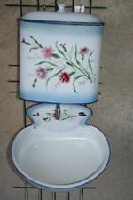 Vintage French Enamel Lavabo, Wall Water Tank Wash Basin Shabby Chic