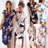 UK Womens Floral Midi Dress Summer Short Sleeve Holiday Sundress Belt V neck