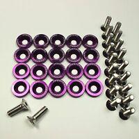 10 pc Purple Billet Fender//Bumper Washer Bolt Dress Up Kit For Honda 92-95 Civic