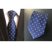 New Blue White Spot Mens Chinese Silk Tie Wedding UK Seller Father Son Gift Suit