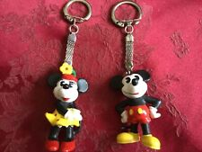 2 Vintage hand painted Minnie and Mickey Mouse Keyrings Bullyland Disney