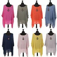 New Womens Italian Cotton Lagenlook Ladies Tunic Batwing Necklace Top