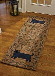 "Folk Cat Area Rug Runner By Park Designs. Large Country Rug 24""x72"""