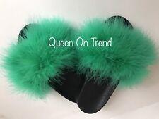 Womens Handmade Big Fluffy Oversized Fur Sliders 3,4,5,6,7Green Limited