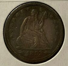 1853 Arrows and Rays Au Almost Unc Liberty Seated Us Silver Quarter 25C