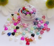 3D Nail Art 'Pearl Hearts Mix' 5mm Gems Pot Flat Back app 90/100pc Nail Craft