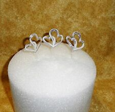 Hearts,Double,Cupcake Picks,Silver Plastic,Cake Decoration,12 ct.DecoPac,Metalic
