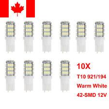10x T10 Warm White Car LED 921/194 1206 42SMD Bulbs Rear Lamp Reverse RV Trailer