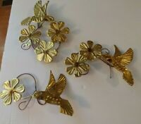 Vintage Home Interiors 3 Piece Set Gold Metal Hummingbirds Flowers