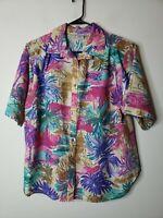 Cabrais Women's Button Front Blouse Top Size 20W Plus Pink Purple Floral Vintage