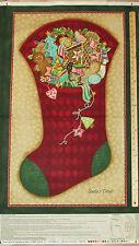 "Santa's Here Red Stocking Benartex Christmas Fabric Panel 23""   #06071"