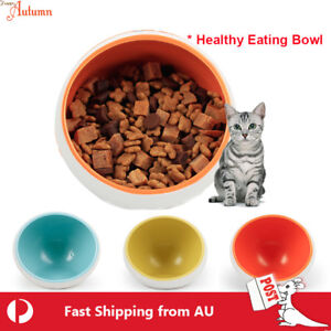 Pet Healthy Eating Tilt Bowl Feeder Food Feeding Dog Cat Ceramic Stand