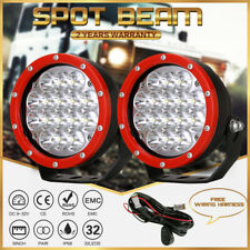 Pair LED Driving Lights 5inch Red Round OffRoad Truck 4X4 Spot Headlight 12V 24V