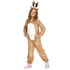 Girls Gold Reindeer Deer Christmas Halloween Costume Jumpsuit Tail Antlers S M L