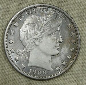 1906 D Barber Silver Half Dollar AU About Uncirculated Some Album Toning *HG-153