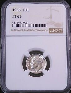1956 Roosevelt Silver Dime NGC PF69 Blast White Proof Stunning Luster PQ #GE331