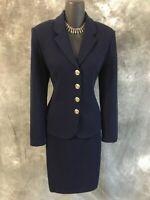 BEAUTIFUL St John knit navy blue 2pc jacket skirt suit size 4