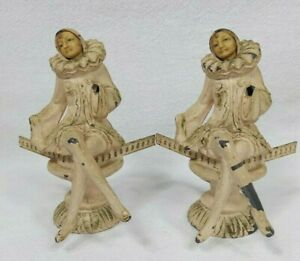 RARE ANTIQUE COLD PAINTED HARLEQUIN FIGURES CORNER MOUNTS? WITH COMPOSITE FACES