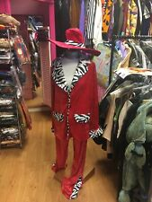 Pimp Rubies Fancy Dress Costumes Mens XL 70s Red Velvet Suit And Gangster Hat