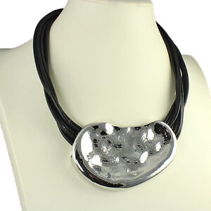 Large hammered finish chunky pendant black cord leather choker necklace jewelry