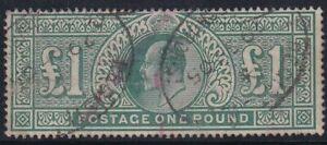 GB Stamp - 1902 - EDVII - £1 - SG 266 - Registered Cancels