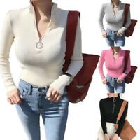 Women Knit Pullover V Neck Turtleneck Zipper Jumper Sweater Slim Solid Casual