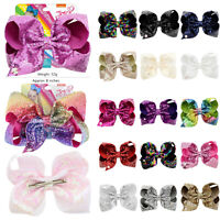 """8"""" Glitter JOJO Girl Bows Hair Bow With Alligator Clip Large Ribbon Hairpin Cute"""