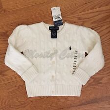 NWT girls 24m 2T Ralph Lauren white 100% cotton cable knit cardigan sweater