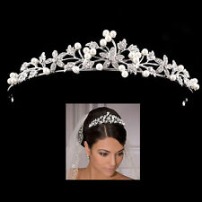 Wedding Bridal Veil Tiara Pearls Crystal Flower Headband Prom Hair Accessories