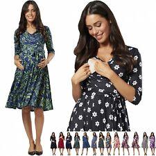 Zeta Ville. Women's Maternity Nursing Midi Dress Double Layer 3/4 Sleeve 609p