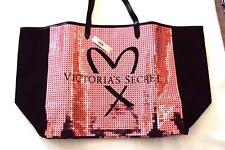 Victorias Secret Black Pink Sequin Weekender Tote Gym Shopping Bag