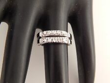 Double Row Single Cut Diamond Ring Wedding Band .30 tcw F/VS ART DECO 14k WG