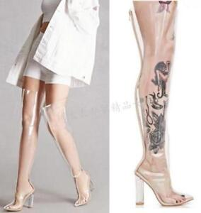 Women Transparent Pointy Toe Chunky High Heels Over Knee Thigh Boots Clubwear 19