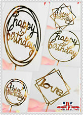 UK New Love Happy Birthday Cake Topper Card Acrylic Party Decor Supplies Gold
