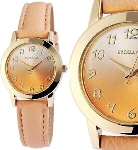 Damen Armbanduhr Gold Beige Pfirsich Pastell Kunstlederarmband von Excellanc