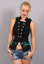 Military Buttons Black Sleeveless Top S