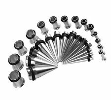 28PCS Stretching Kit Surgical Steel Tapers and Plugs 12G-0G Ear Gauge Expanders