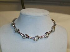 Vintage Trifari Textured Polished Silver Tone Link  Rhinestone Choker Necklace