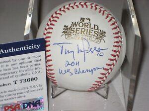 TONY LARUSSA Signed Official 2011 WORLD SERIES Baseball w/ PSA COA & Inscription